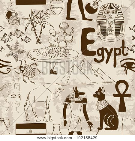 Sketch Egypt Seamless Pattern