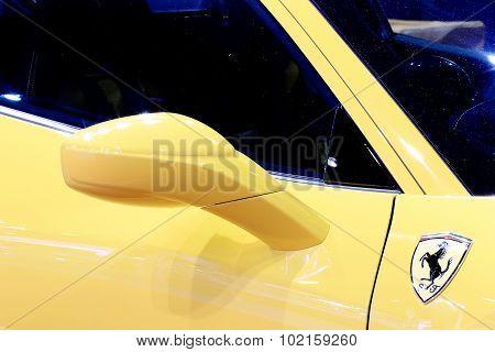 Wing Mirror Of Yellow Ferrari Luxury Sport Car