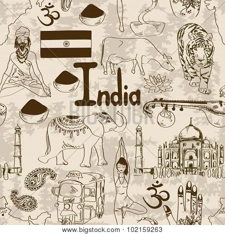 Sketch Indian Seamless Pattern