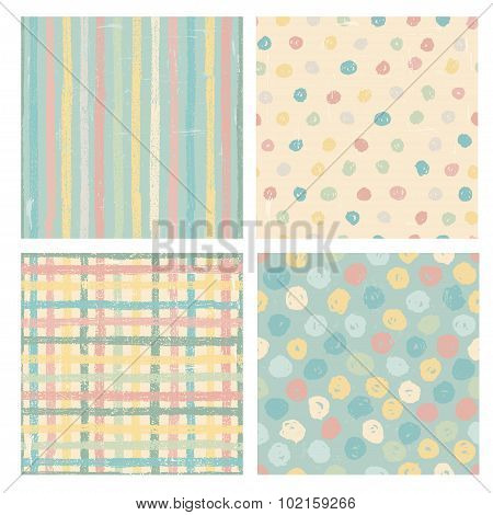 Four Seamless Patterns In Pastel Tones