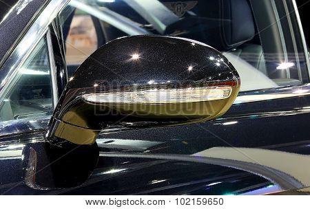 Wing Mirror Of Blue Bentley Series Flying Spur W12  Luxury  Car