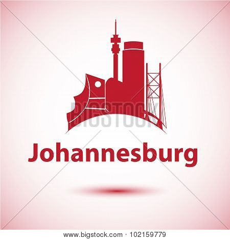 Johannesburg South Africa city skyline silhouette.