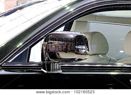 Wing Mirror Of Black Rolls Royce