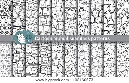 Cartoon Animal Seamless Patterns. Pattern Swatches Included For Illustrator User, Pattern Swatches
