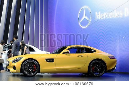 Yellow Mercedes Benz Sport Car