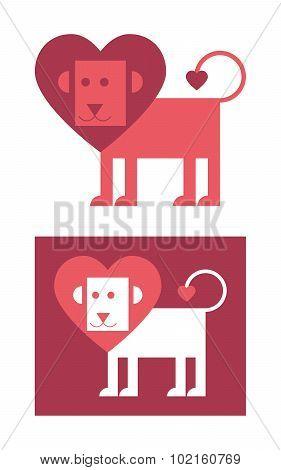 Maned lion heart-shaped