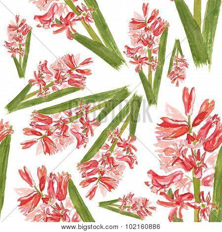 Watercolor hyacinth seamless background pattern