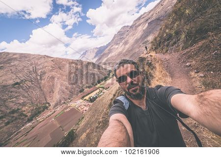 Traveler Taking Selfie In The Inca's Sacred Valley, Peru