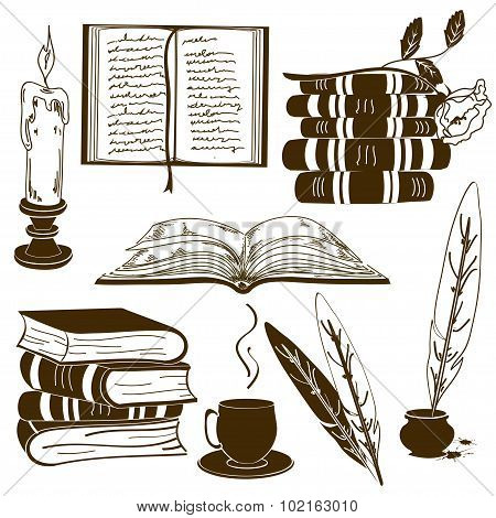 Set Of Isolated Book Icons.