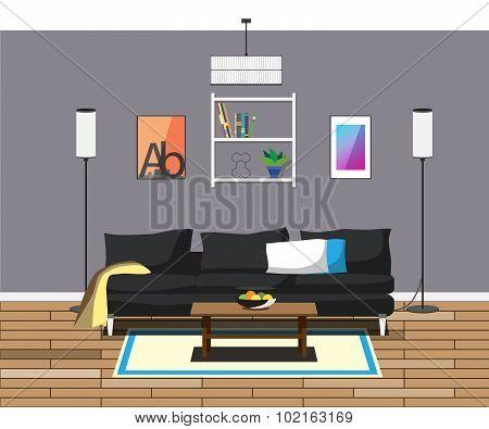interior modern living room lamp sofa