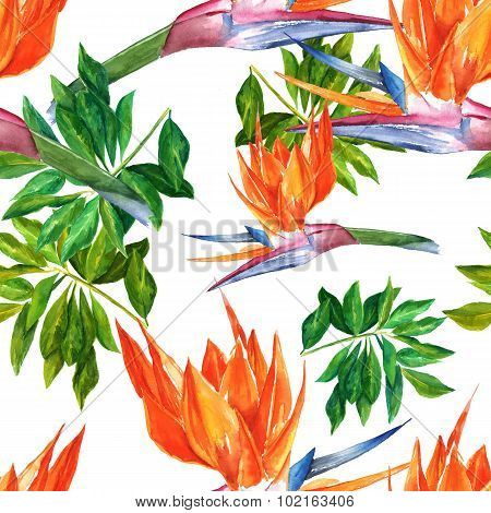 Seamless watercolour background with bright tropical flowers and leaves