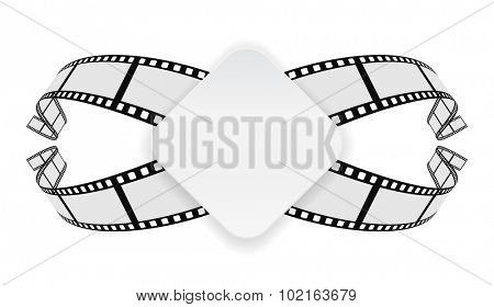 paper banner on film reel abstract background