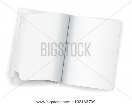 open blank white magazine book icon