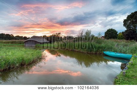 Thatched Boat House On The Norfolk Broads