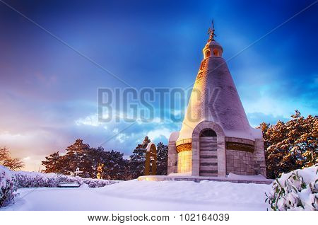 Winter Landscape With A Chapel At Dawn