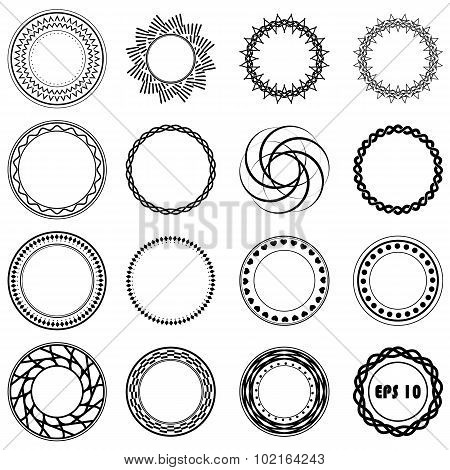 Set fractal and swirl shape element. Vintage monochrome different objects. Raster decorative sample.
