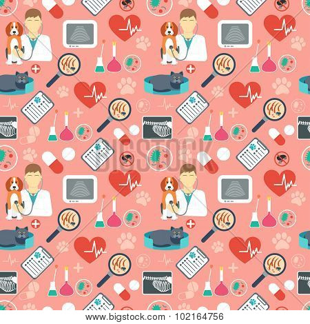Veterinary Seamless Pattern. Vet Clinic. Flat Design. Red Background. Vector