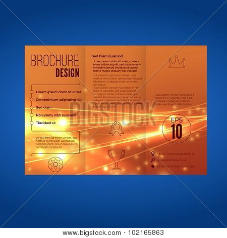 Bright Orange Speed Energy Wave Line Brochure