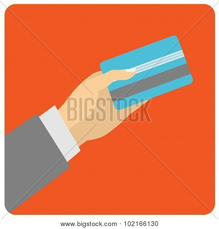Flat design style illustration. Hand hold credit card to pay.