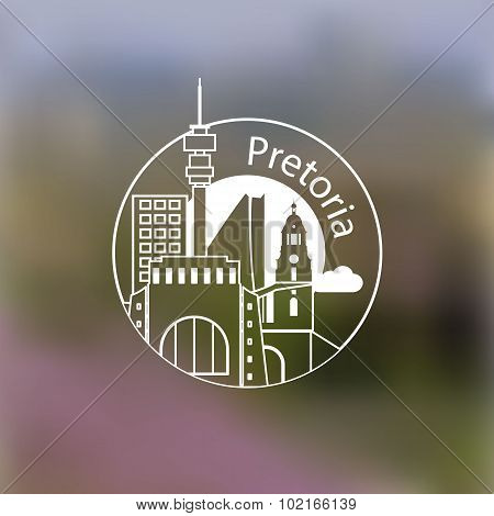 Minimalist Round Icon Of Pretoria, South Africa. Flat One Line Style. Linear Web Logo On Blurred Bac