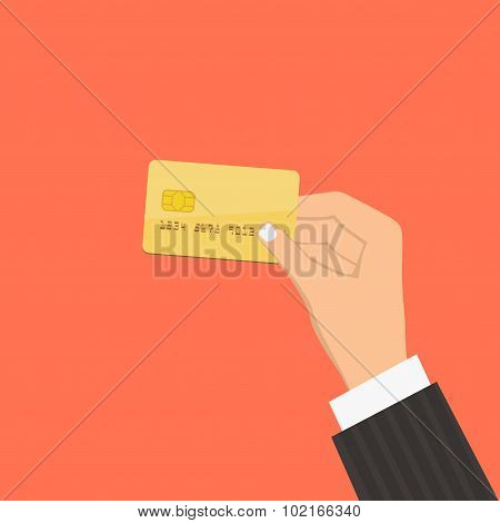 Hand holding credit card. Flat design style illustration. Isolat