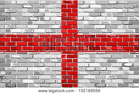 Grunge Flag Of England On A Brick Wall