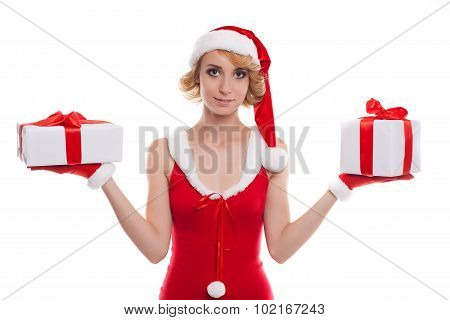 Christmas, X-mas, Winter, Happiness Concept - Smiling Blonde Woman In Santa Helper Hat With Two Boxe