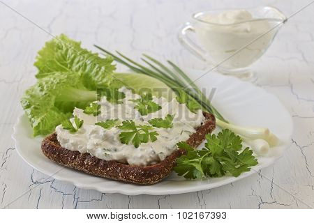Sandwich With Cottage Cheese And Herbs
