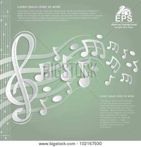 light green music background with white treble clef and other notes on stave from paper
