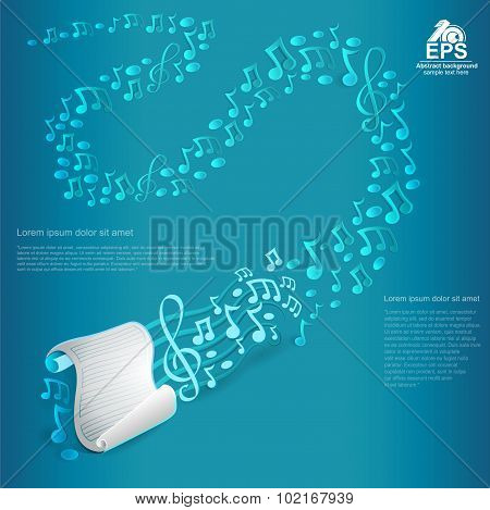 light blue music background with white list of paper with staves and treble clef and other notes fro