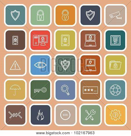 Security Line Flat Icons On Orange Background