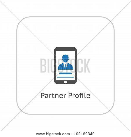 Partner Profile Icon. Business Concept. Flat Design.
