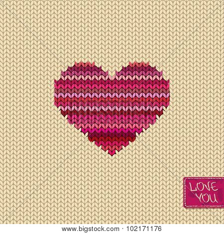 Knitted Seamless Pattern Or Card With Heart.