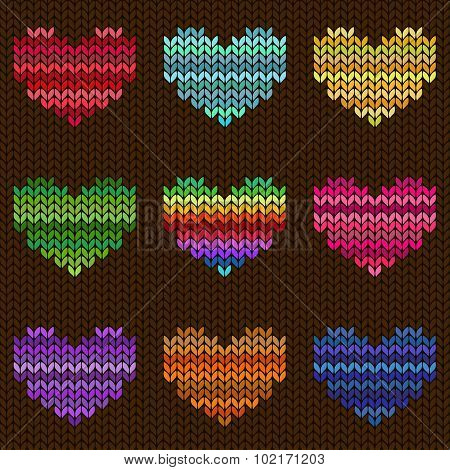 Seamless Knitted Pattern With Hearts.