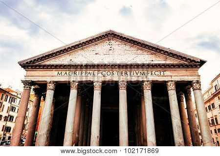 ROME, ITALY - OCTOBER 29: Many tourists visit the ancient Pantheon in Rome, Italy on October 29, 201