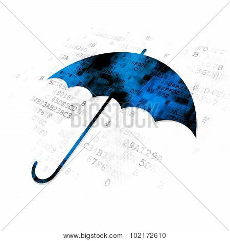 Privacy concept: Umbrella on Digital background