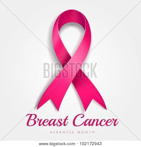 Breast cancer awareness pink ribbon with gradient mesh on white background