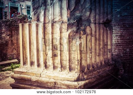 ROME, ITALY - OCTOBER 29:  Detail of the columns of the Pantheon in Rome, Italy on October 29, 2014.