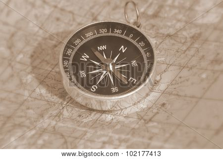 Map With A Compass.