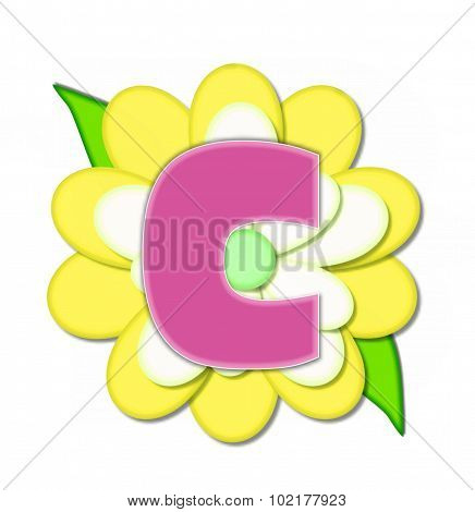 Alphabet Flower Pin Yellow C