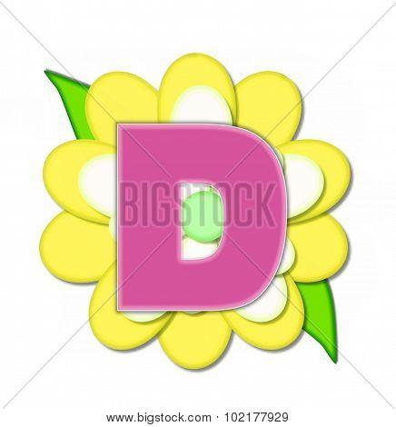 Alphabet Flower Pin Yellow D