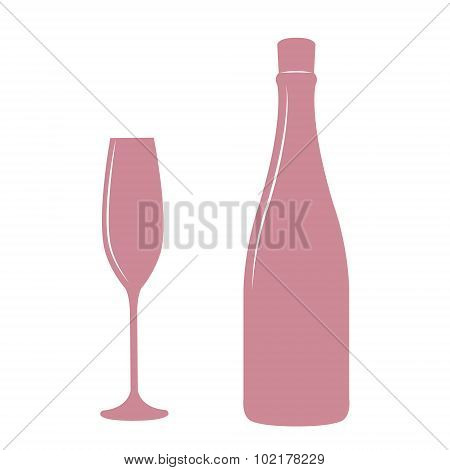 Champagne bottle and glass.