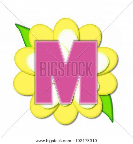 Alphabet Flower Pin Yellow M