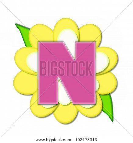 Alphabet Flower Pin Yellow N