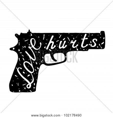Gun love hurts label.