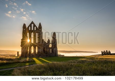 Sun Star On Whitby Abbey