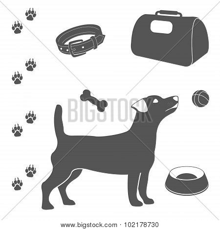 Dog care set of icons.
