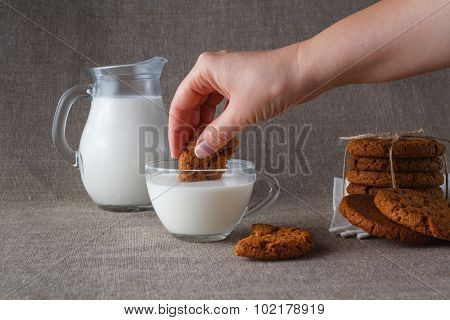 Oat Cookies Dunked In Milk