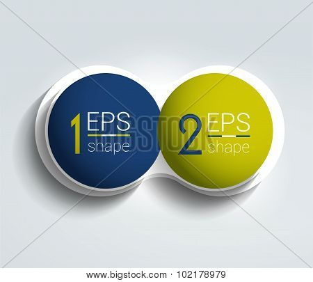 Two Business Elements Banner. 2 Steps Design, Chart, Infographic, Step By Step Number Option