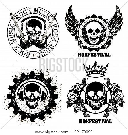 Music skull design elements with font type and illustration vector